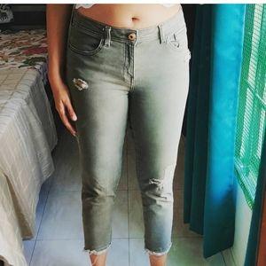 Zara olive distressed jeans